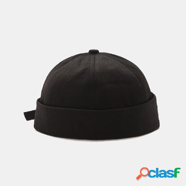 Moda simples chapéu caveira cap brimless chapéus retro algemado cor sólida