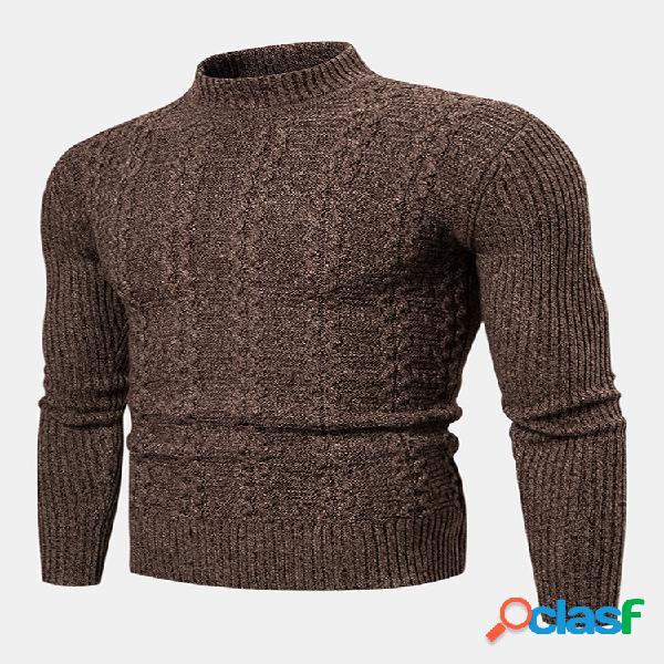Suéter de malha masculina simples de algodão cor sólida com gola de tartaruga