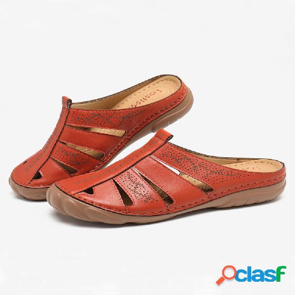 Lostisy sandálias com dedos redondos ocos e chinelos sem encosto com costura confortável