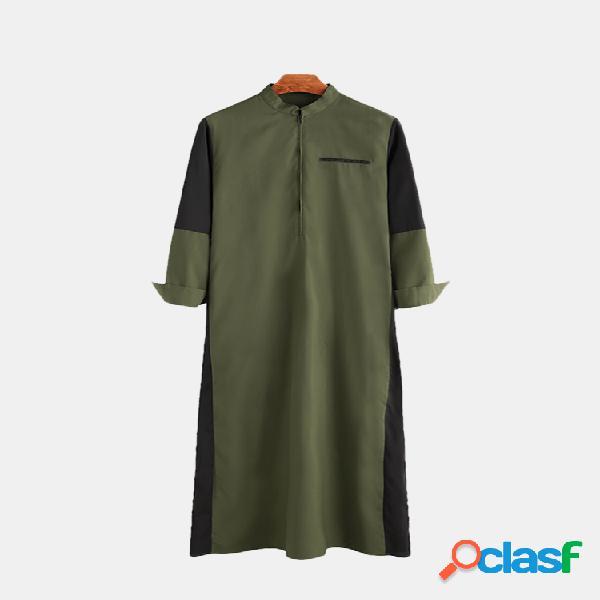 Mens muçulmano respirável robes de costura retalhos camisas de manga longa