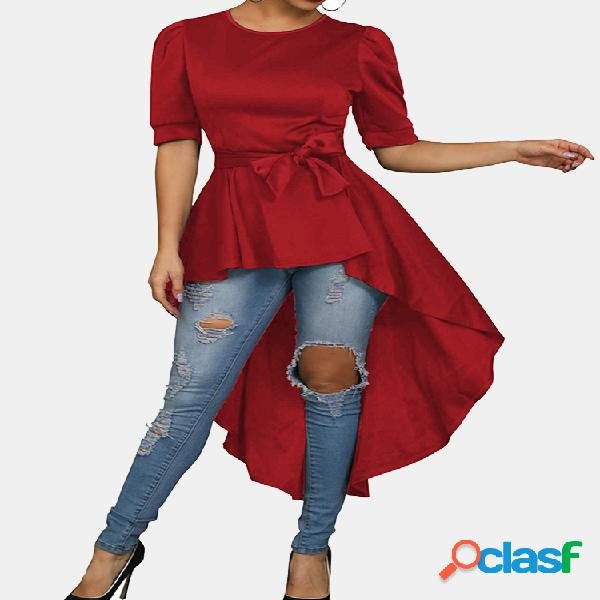 Blusa de manga curta irregular de cintura cor sólida para mulheres