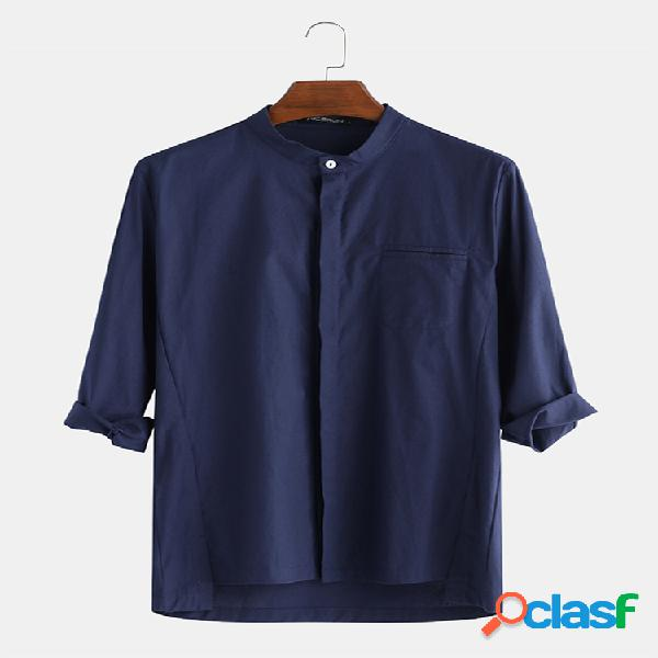Linho de algodão masculino casual maciço liso 3/4 manga camisa