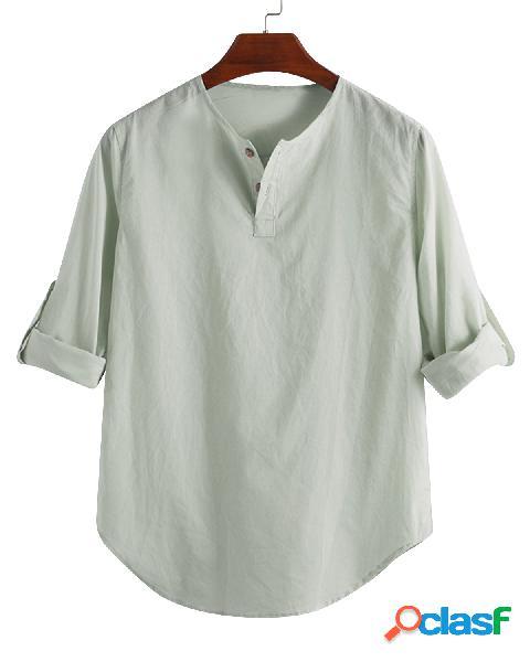 Masculino, linho liso, meio, botões, gola, manga longa, camisas