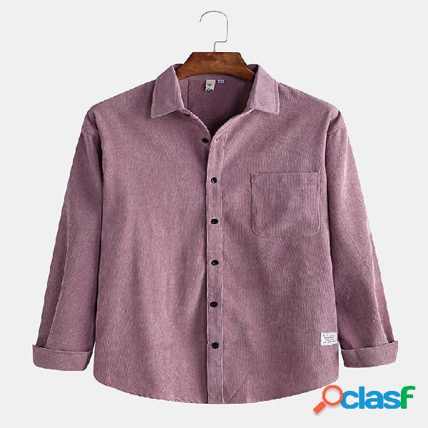 Mens casuais de veludo de algodão patchwork bolso jaquetas de manga longa