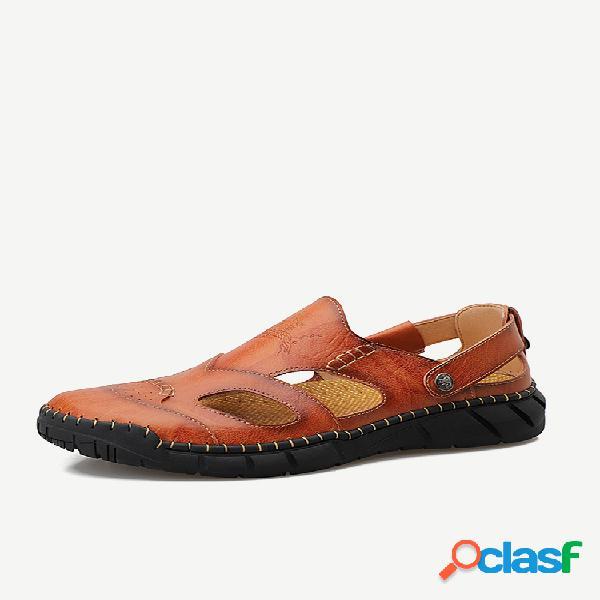 Sandálias casuais masculinas com costura à mão de couro antiderrapante soft com sola