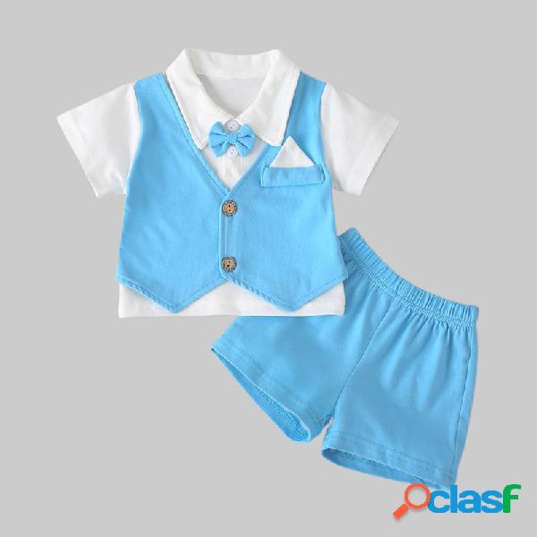 Cavalheiros do bebê gravata borboleta mangas curtas conjunto de roupas formais casuais para 6-24m