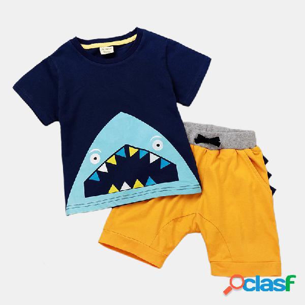 Conjunto de roupas casuais de mangas curtas de impressão dos desenhos animados de tubarão para menino de 1 a 5 anos