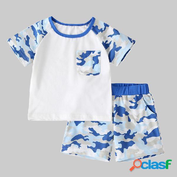 Conjunto de roupas casuais de mangas curtas de menino para 2-8 anos