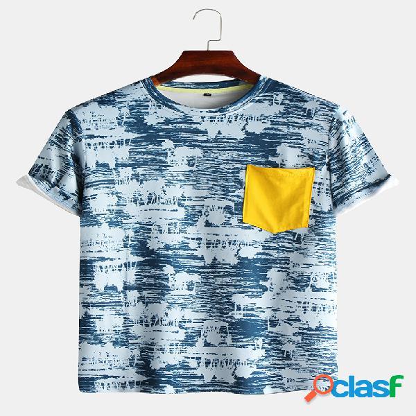 Homens cotton hit color pocket print t-shirt de manga curta em torno do pescoço