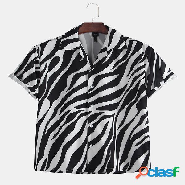 Men zebra padrão textura irregular impresso manga curta camisa