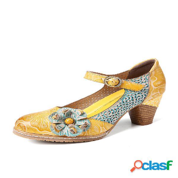 Socofy sapatos sociais florais de couro com fivela para tornozelo e salto robusto sapatos mary jane