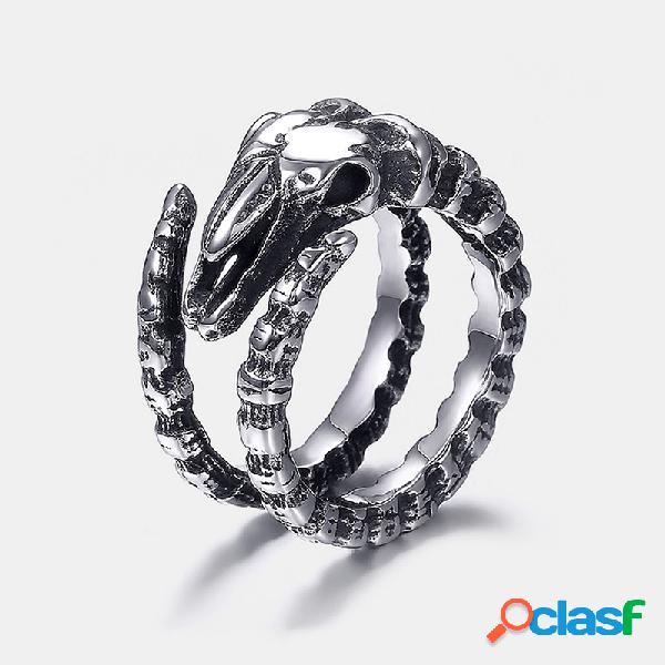 Anel de osso de ovelha geométrico vintage metal estereoscópico animal anel de dedo jóias punk