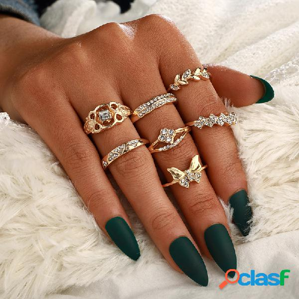 Conjunto de anel de strass bohemian metal folha anel de diamante oco de borboleta geométrica