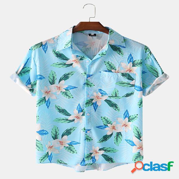 Manga curta estampada floral tropical havaiana masculina camisa