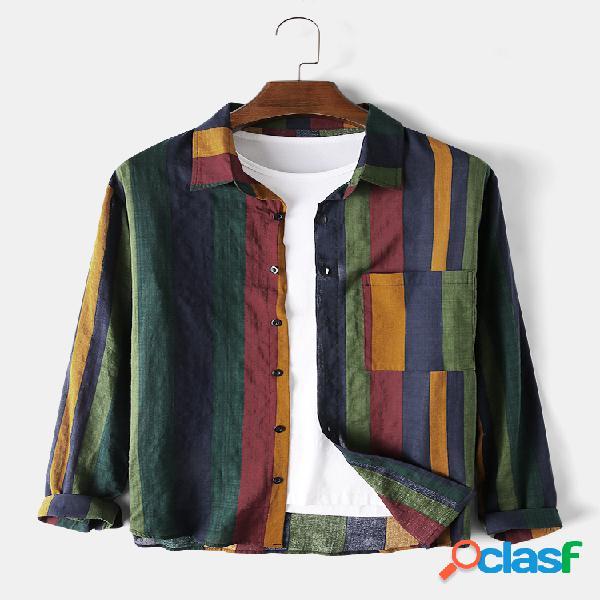 Linho de algodão masculino colorful listra respirável manga longa camisa