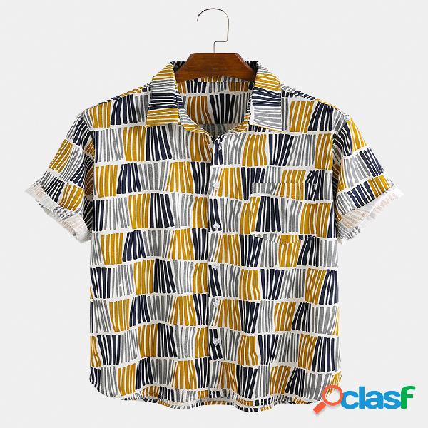 Mens algodão colorful listrado leve respirável manga curta camisa