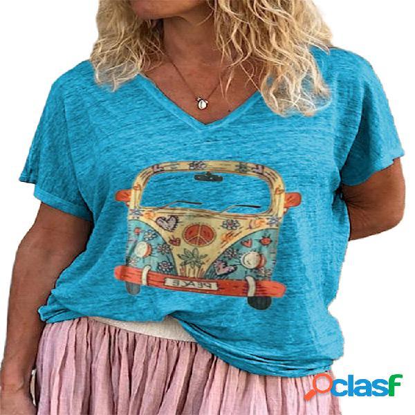 Camiseta de verão de manga curta com decote em v estampado casual cartoon bus