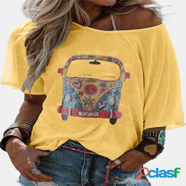 Camiseta feminina de manga curta estampada cartoon casual com decote em o