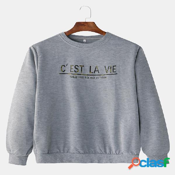 Mens francês palavra impressa em torno do pescoço moletom com capuz esportes casuais