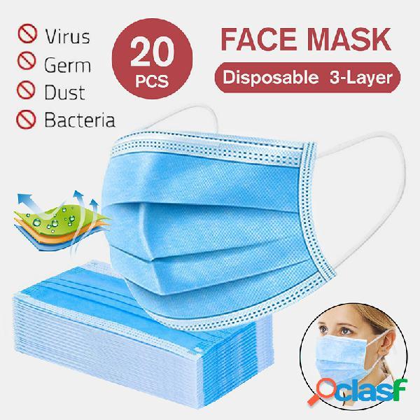 20 unidades de máscara descartável para boca conjunto de máscara facial de proteção pessoal