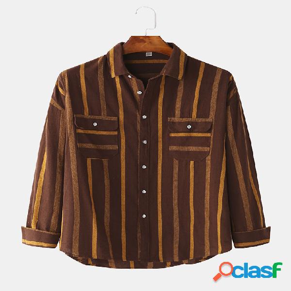 Mens classic guingão listrado hem camisas de manga comprida
