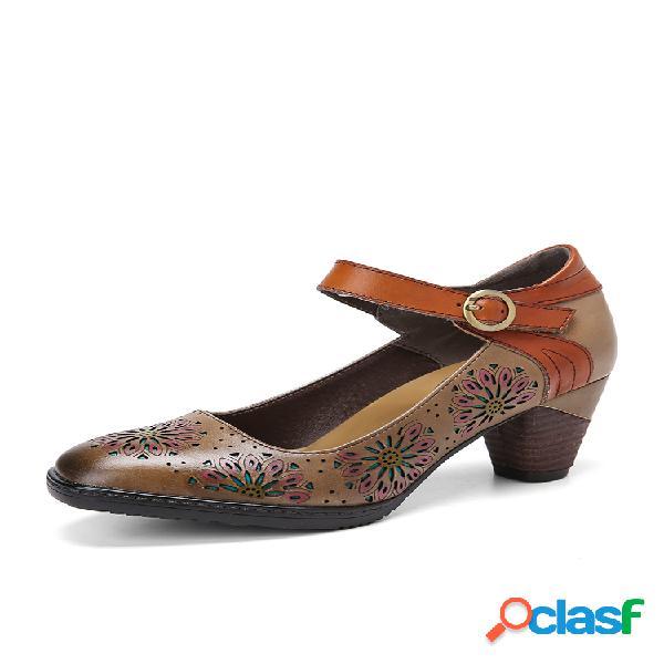 Socofy couro floral oco com fivela de tornozelo e calcanhar robusto sapatos sociais
