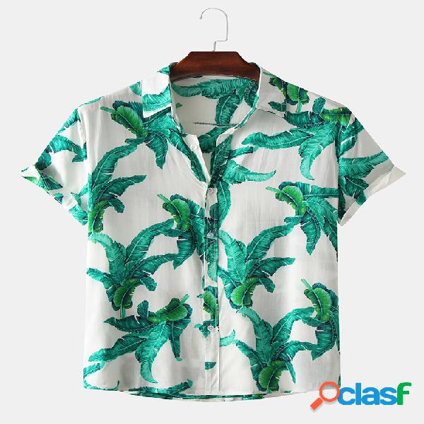 Camisetas masculinas casuais de verão havaiano com estampa floral de manga curta