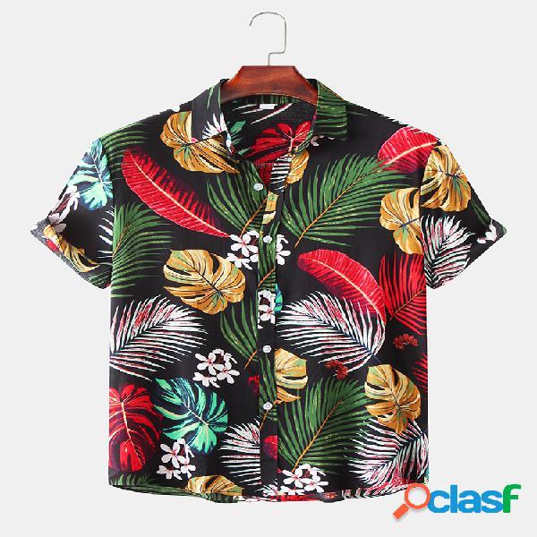 Mangas curtas estampa tropical respirável legal masculina camisa