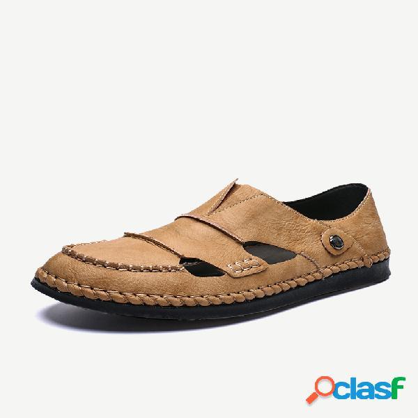 Masculino, costura, mão fechada, dedo do pé, sandálias de couro soft