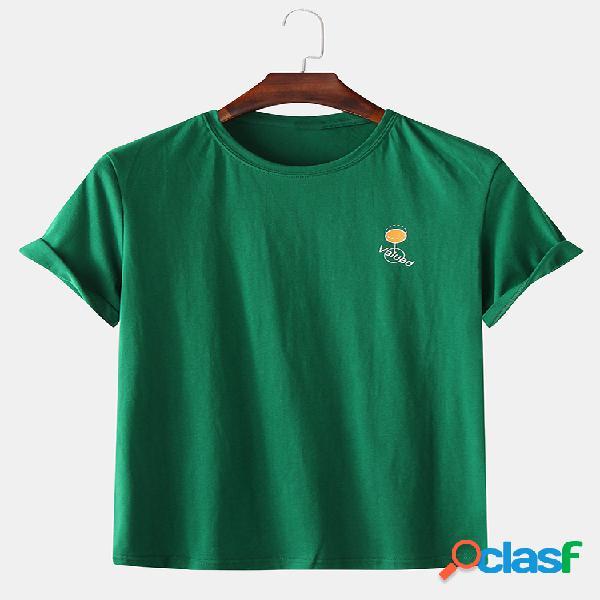 Mens casual cor sólida carta impressão tripulação pescoço manga curta camisetas