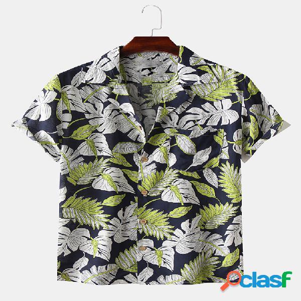 Mens hawaii folha imprimir turn down collar camisas de manga curta respirável
