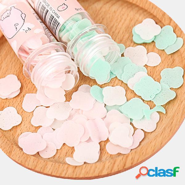 Papel descartável portátil sabão papel sabão flakes tubo de ensaio frasco desenho flor mão sabão papel