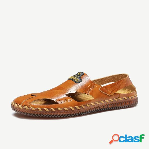 Sandálias casuais de couro de vaca antiderrapante com costura à mão soft