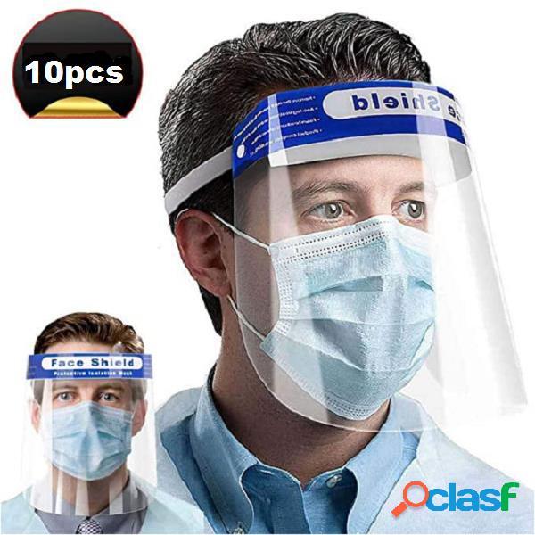 10/1 peças de proteção máscara novo ajuste máscara de proteção extensível hd pet anti-embaçante de proteção máscara
