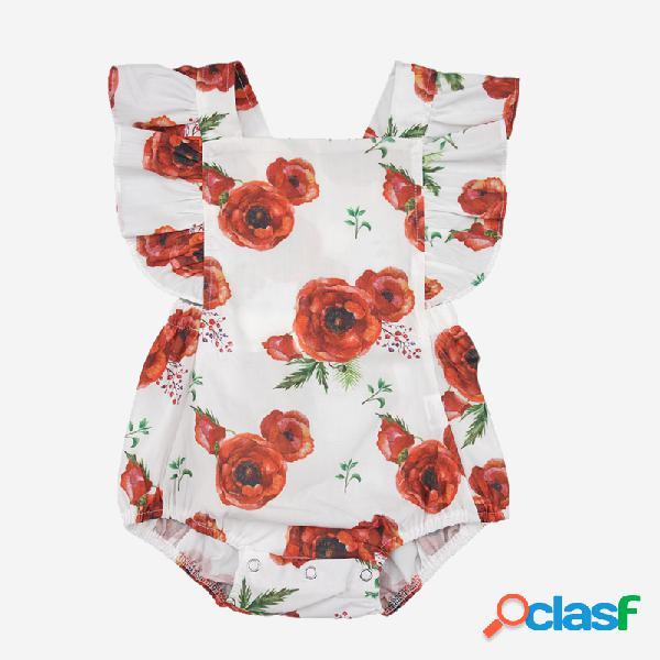 Bebê rosa flor imprimir macacão casual para 3-24m