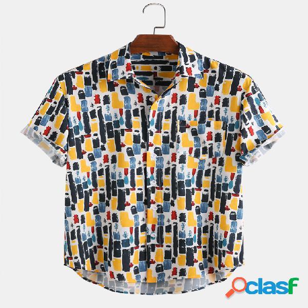 Camisas de manga curta respirável com bolso para homem com faixa graffiti com listras de graffiti