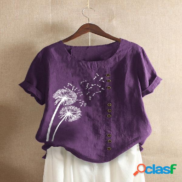 Camiseta estampada de manga curta com decote em o com botão