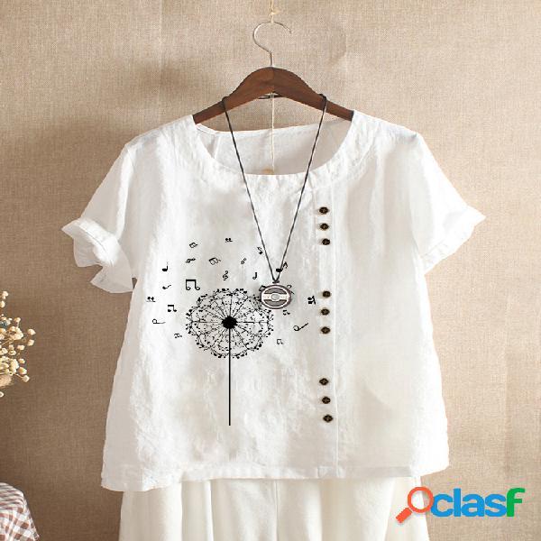 Camiseta estampada de manga curta com decote em o e botão