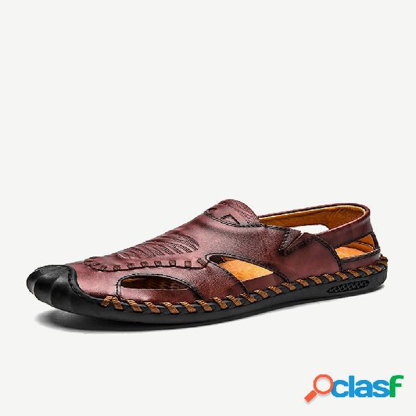 Dedo do pé fechado masculino ao ar livre soft antiderrapante em sandálias de couro casual