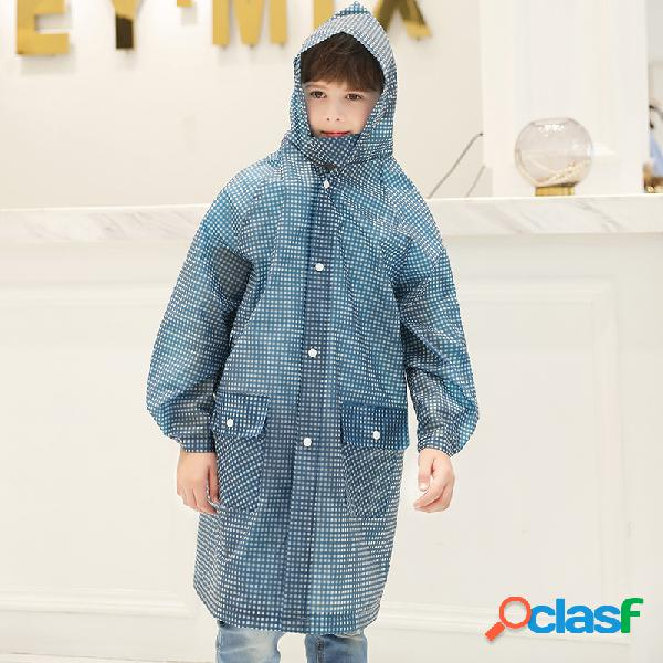 Meninas da criança e meninos bolso xadrez capa de chuva caminhadas capa para 4-9y