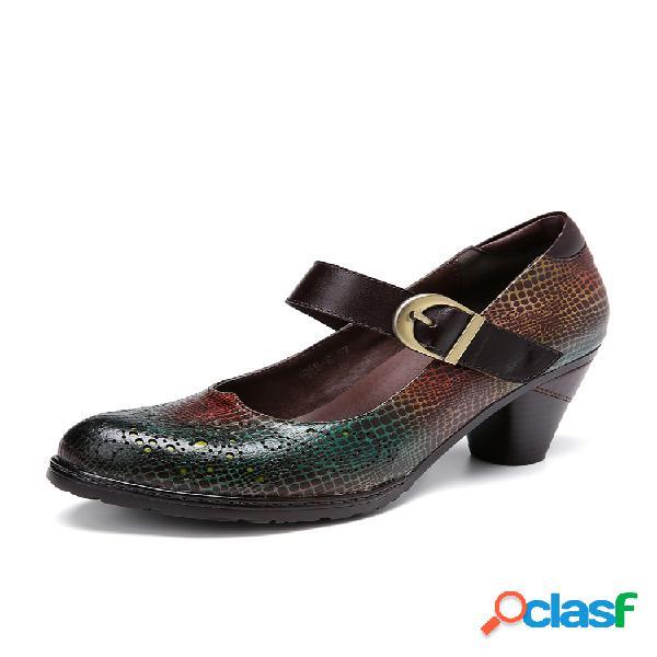 Socofy couro de pele de cobra padrão recortes de fivela alça de salto robusto bombas sapatos estilo mary jane