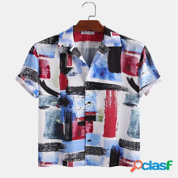 Homem colorful graffiti impresso com decote em v casual manga curta camisa