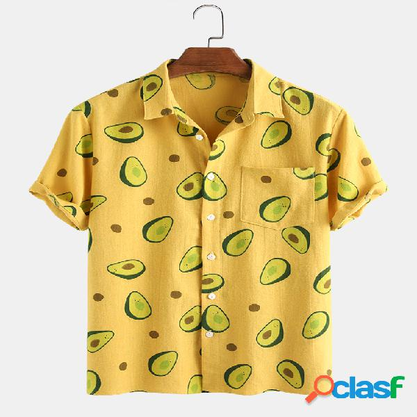100% algodão engraçado impresso abacate manga curta camisa