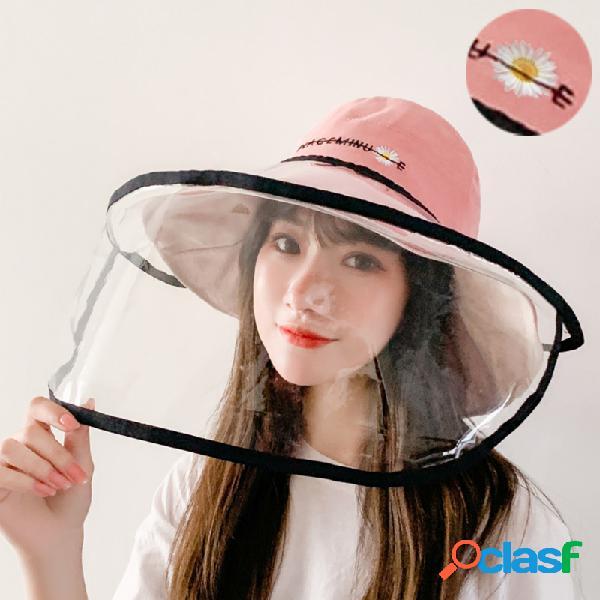 Anti-fog removível chapéu anti-fog chapéu margarida pequena bordada transparente