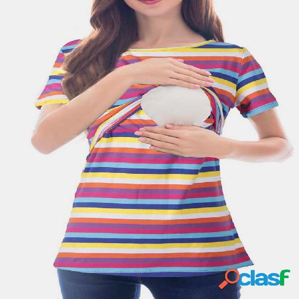Blusa listrada para maternidade camisa com enfermagem funcional design para mulheres grávidas
