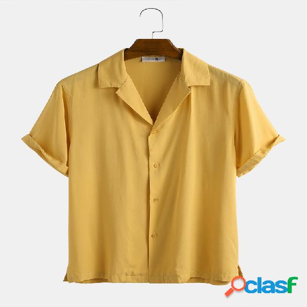 Newchic design homem luz respirável cor sólida camisa