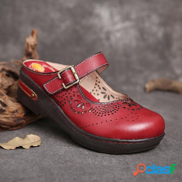 Socofy recortes de couro feitos à mão fivela de alça de costura sandálias planas antiderrapantes