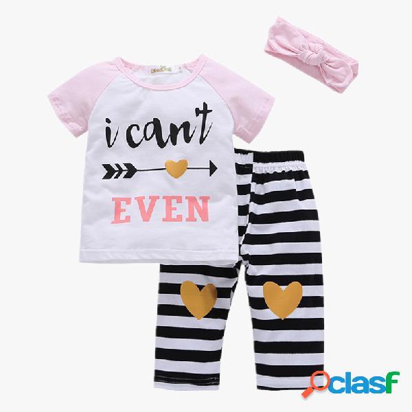 Listrado da menina em forma de coração impressão conjunto de pijama de mangas curtas casuais + bandana para 1-7a
