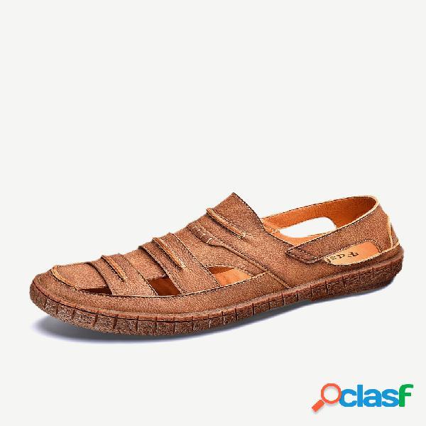Sandálias casuais masculinas retrô de couro antiderrapante soft com sola