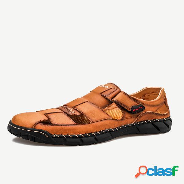 Sandálias de couro masculino fechadas com dedo do pé externo antiderrapante